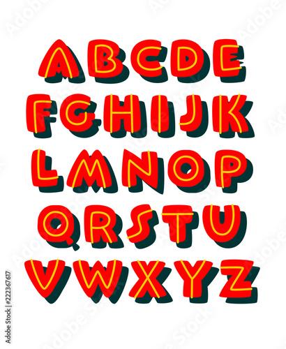 Doodle bold comic style font. Vector alphabet