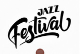 Jazz Festival. Vector musical hand drawn lettering. Elegant modern handwritten calligraphy. Ink illustration. Typography poster for cards, invitations, prints, promotions, posters, banners etc. - 222368488