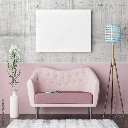 Leinwandbild Motiv Mock up poster, hipster living room, rose color concept, 3d render ed illustration