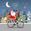 Santa Claus riding on a bicycle across the night city