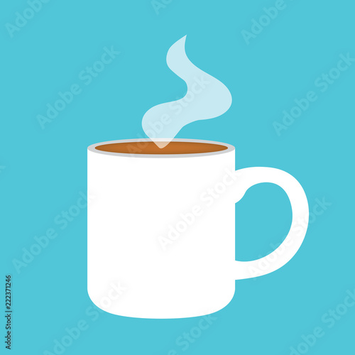 Sticker hot coffee cup icon- vector illustration