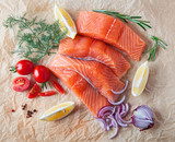 Raw salmon fillets with spices and vegetables, composition. Top view. - 222371865