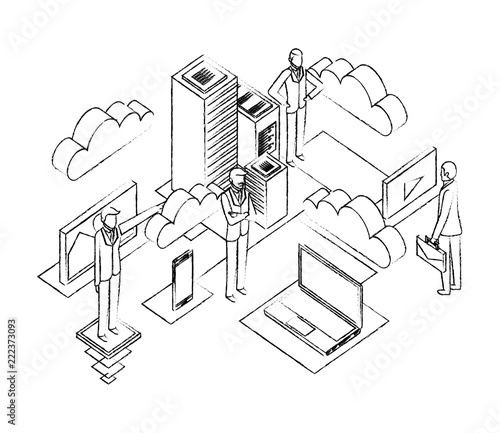 Businessmen With Data Center Network Icons