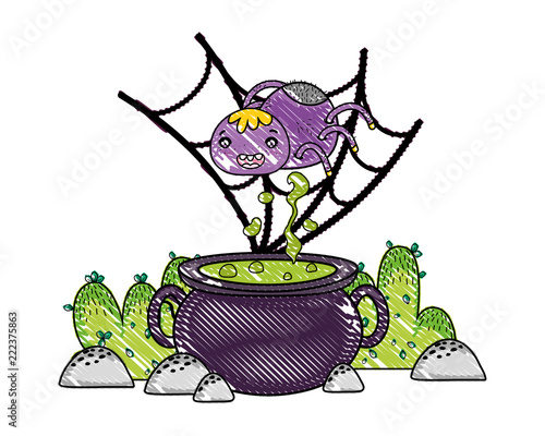 Fototapeta grated spider character in the spiderweb with pot cauldron