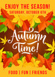 Autumn picnic fest invitation leaf fall poster