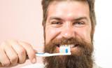 Brushing teeth. Bearded man brushing teeth. Closeup portrait of bearded man. Morning routine. Hygiene. Healthy lifestyle. Tooth brush. Man clean teeth. Stomatology. Close up. Healthy teeth. - 222382698