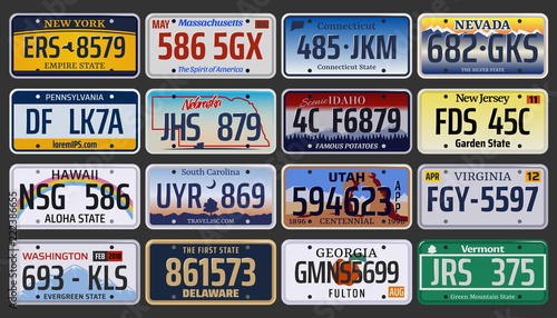 Vector American vehicle registration number plates - 222386655