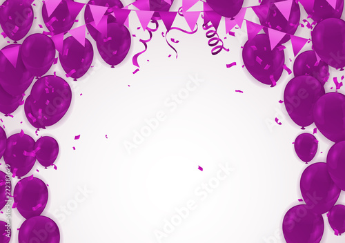 Celebration party banner with purple balloons background. Ilustracja wektorowa sprzedaży. szablon