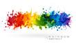 Rainbow creative horizontal banner from paint splashes. - 222391244