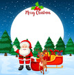 Merry christmas card with santa and reindeer