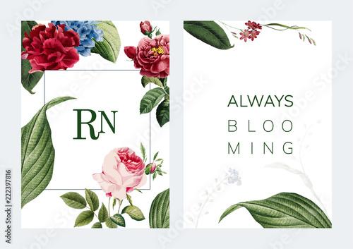 Floral frame card design illustration - 222397816