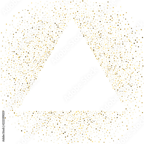 Triangle frame polka dots golden star holiday background. Vector