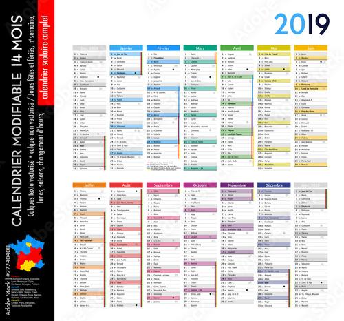 Calendrier 2019 sur 14 mois MODIFIABLE avec calendrier scolaire COMPLET, calques textes vectorisés et non vectorisés