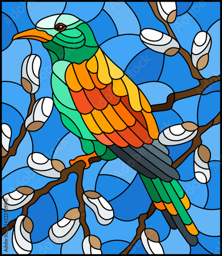 illustration-in-stained-glass-style-with-a-bright-bird-on-willow-branches-against-the-sky