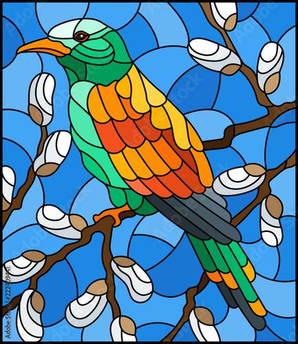 ilustracja-w-stylu-witrazu-z-jasnym-ptakiem-na-galezi-wierzby-przeciwko