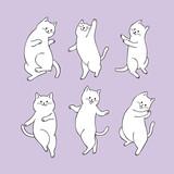 Cartoon cute cat dancing vector.