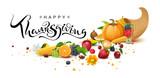 Happy Thanksgiving Day handwritten calligraphy text greeting card. Cornucopia harvest - 222412409