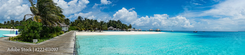 Nice tropical Island with blue lagoon, Maldives. - 222413097