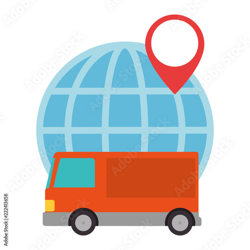 sphere planet with truck - 222413658