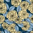 Seamless pattern with hand  drawn roses.