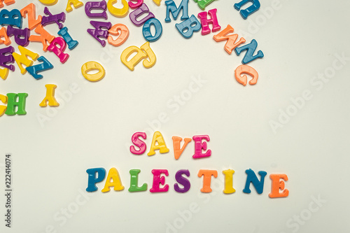 save palestine words made by colorful plastic letters buy photos