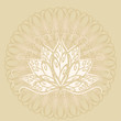 Lotus and mandala. Vector image of a stylized Lotus flower in vintage style with the mandala. - 222414440