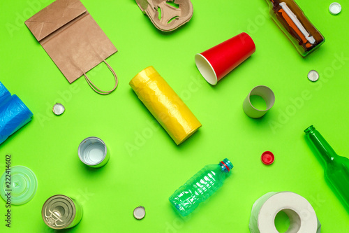 waste materials paper, plastic, polyethylene - 222414602