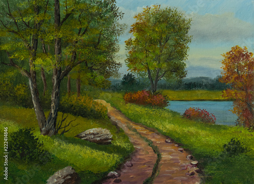 Leinwanddruck Bild Schotterweg am Waldrand neben einem kleinen See