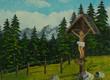 Leinwanddruck Bild - Jesuskreuz neben einem Wanderweg in den Bergen