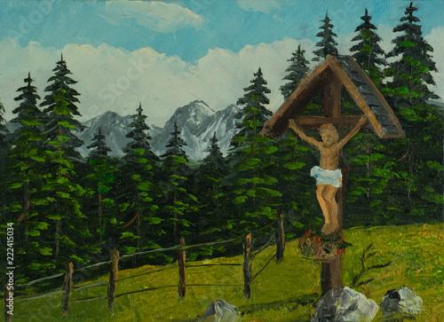 Leinwanddruck Bild Jesuskreuz neben einem Wanderweg in den Bergen