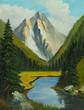 Leinwanddruck Bild - Enges Tal mit einem Fluß und Bergen im Hintergrund