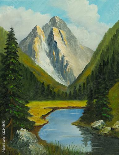 Leinwanddruck Bild Enges Tal mit einem Fluß und Bergen im Hintergrund