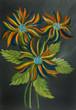 Leinwanddruck Bild - Bunte Blumen mit Blättern vor grauem Hintergrund