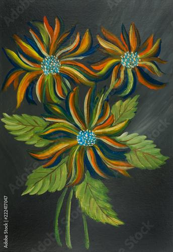 Leinwanddruck Bild Bunte Blumen mit Blättern vor grauem Hintergrund