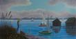 Leinwanddruck Bild - Frau steht am Ufer von einem See mit Seegelbooten