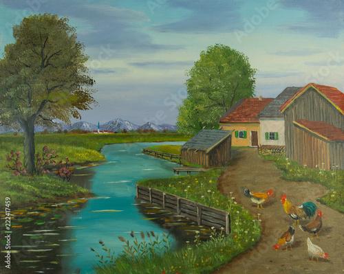 Leinwanddruck Bild Freilaufende Hühner auf einem Weg neben dem Fluß