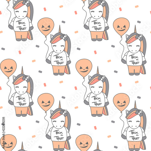 cute cartoon halloween seamless vector pattern background illustration with unicorns and pumpkin balloons