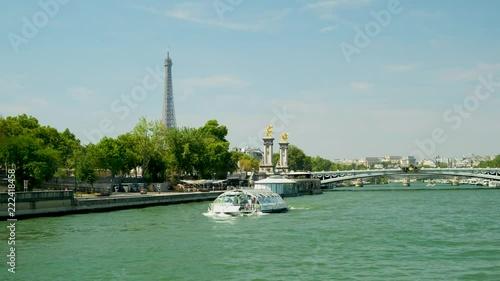 Fridge magnet Paris Seine boat trip eiffel tower
