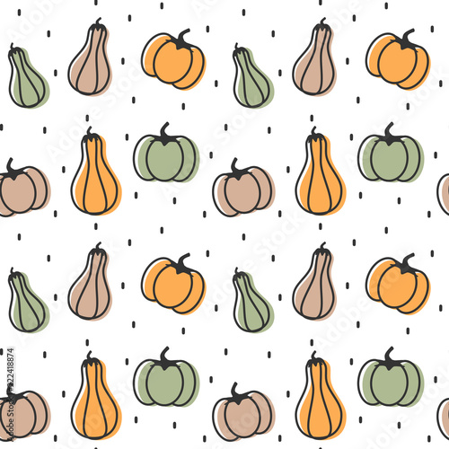 cute colorful pumpkins seamless vector pattern background illustration