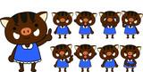Cute Boar child's emotional expression set