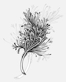 Decorative  Feather in Zen doodle or Zen tangle Boho style black on white for coloring page  or for tattoo or decoration different things. Symbol of  lightness  elegance  grace.  - 222419833