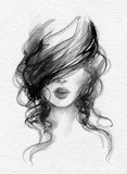 beautiful woman. fashion illustration. watercolor painting - 222420692
