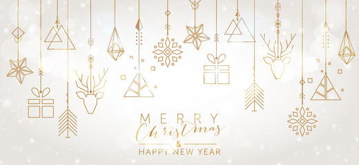 Christmas and New Year background with geometric elements