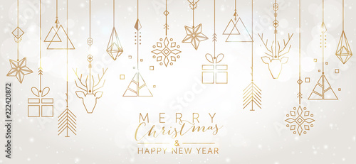 Christmas and New Year background with geometric elements - 222420872