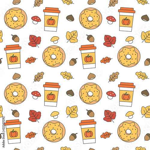cute lovely autumn seamless vector pattern background illustration with donuts, paper cup, leaves, acorns and chestnuts