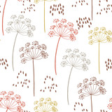 Vector organic floral seamless abstract background, botanical motif, freehand doodles pattern. - 222423026