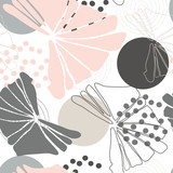 Leaves background vector. Seamless pattern with hand drawn  tropical  leaves  and geometric background. - 222423222