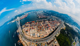 Panorama aerial view of Hong Kong Kwai Tsing Container Terminal