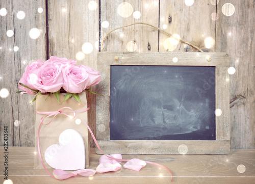 Leinwanddruck Bild Grußkarte - rosa Rosen Blumenstrauß - Nostalgisch