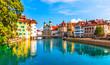 Leinwanddruck Bild - Old Town architecture of Lucerne, Switzerland